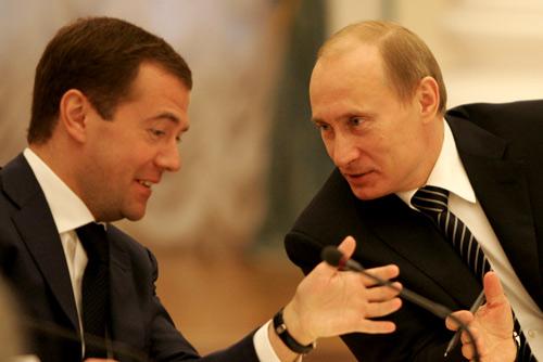 Medvedev en Poetin