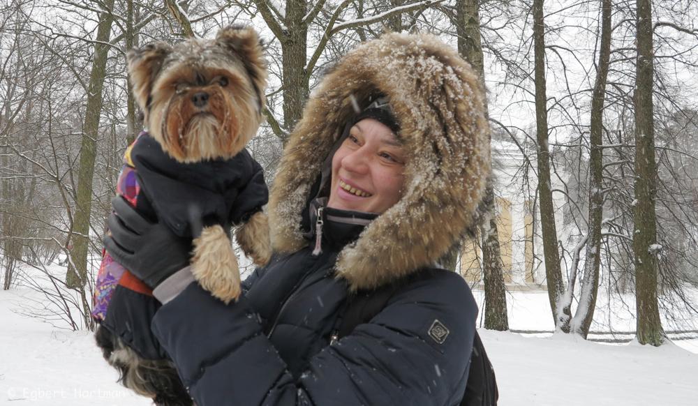 hondje Pavlovsk winter Rusland Sint-Petersburg