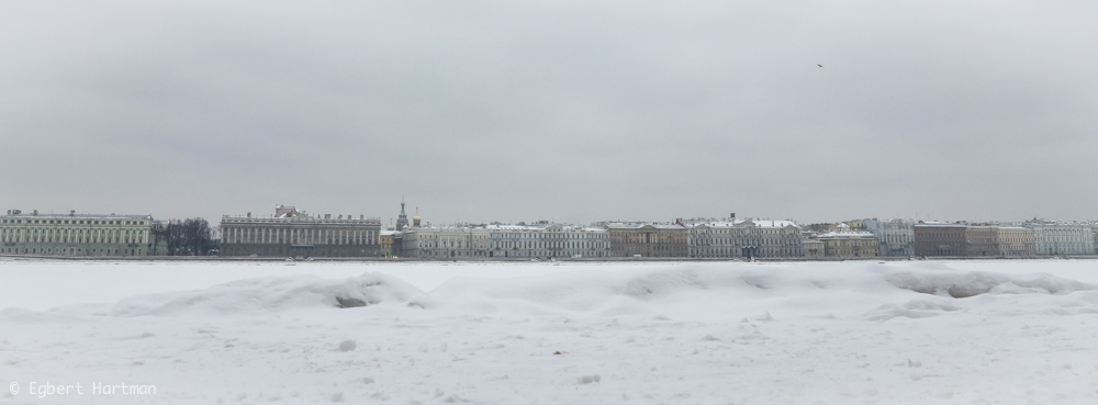 Neva winter ijs Sint-Petersburg