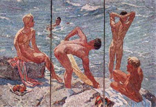 Deineka Mooie morgen schilderij Sovjetunie