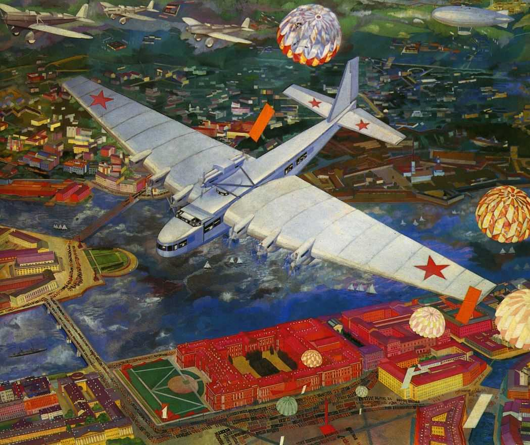 Kuptsov Koeptsov schilderij vliegtuig Leningrad socialistisch realisme