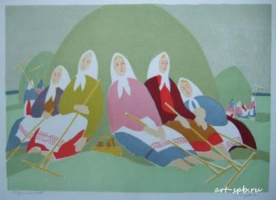 schilderij Boris Jermolajev dorpsleven