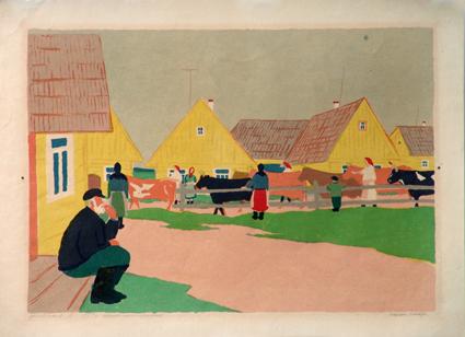 lithografie Jermolajev dorp Russisch