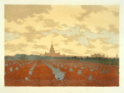 Universiteit Leninheuvels Moskou Jermolajev schilderij