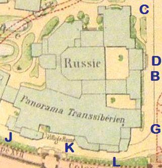 Wereldtentoonstelling Parijs 1900 panoram Russisch paviljoen Transsiberische