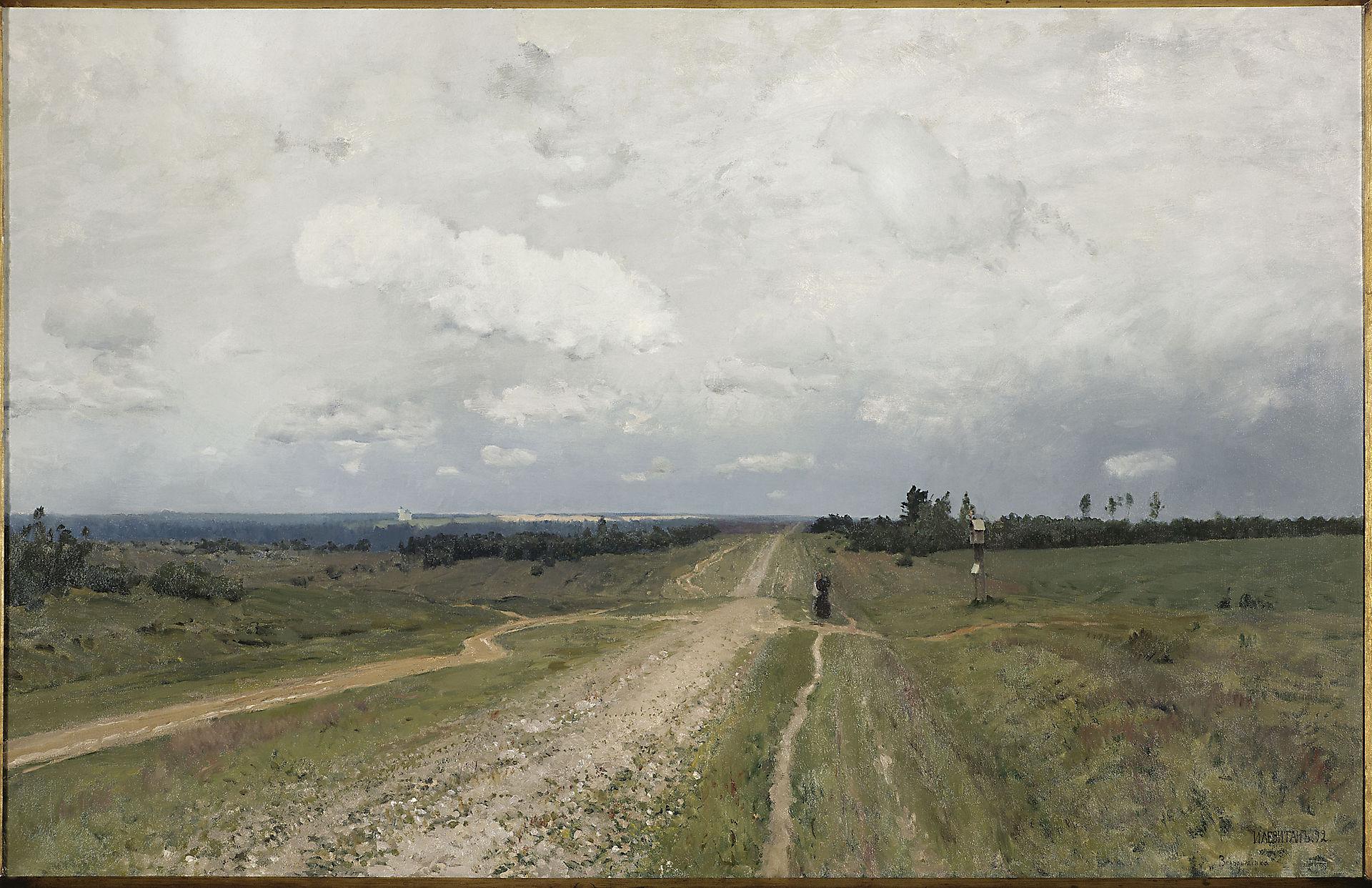 Isaak Levitan - Vladimirka (1892). De Vladimirka was de weg waarover de konvooien naar Siberië liepen.