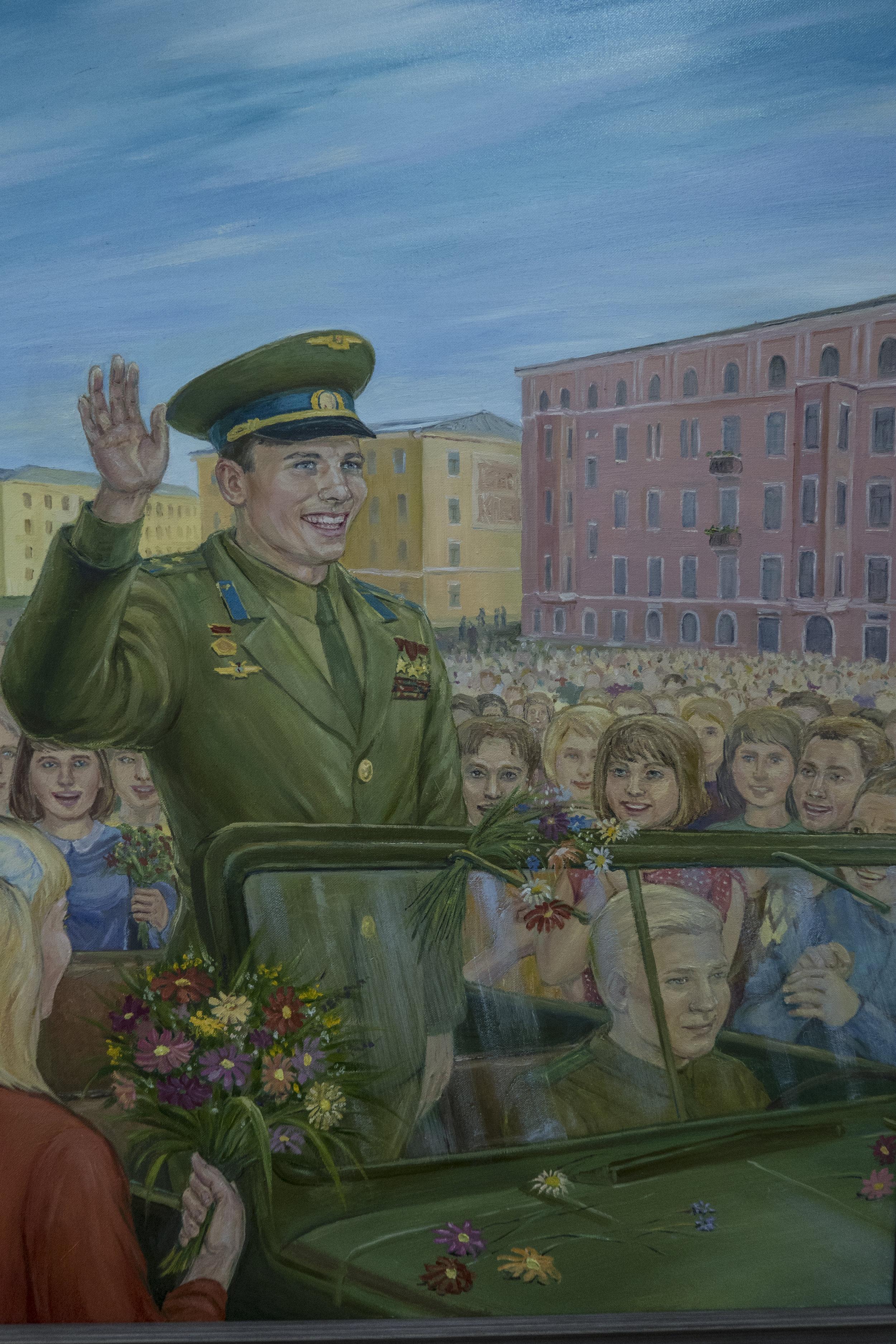 L.V. Chartsjenko - Ontmoeting van de inwoners van Komsomolsk met Joe.A. Gagarin in juni 1967. (Jaartal schilderij?)