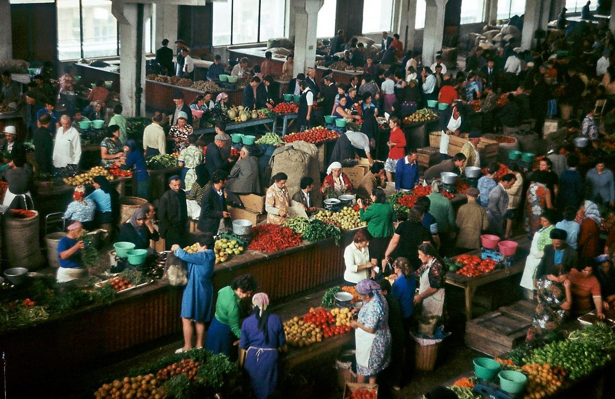 Fruit and vegetable market in Tbilisi, USSR, 1977.