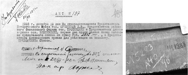 Akte van overdracht van iconen uit het Centraal Historisch Museum aan Antikvariat (1936)