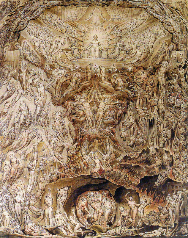 """William Blake, A Vision of the Last Judgment (1808). If Blake were alive today, I'd invite him overfor a drink, so I could hear him say things like this: """"If the Spectator could Enter into these Images in his Imagination approaching them on the Fiery Chariot of his Contemplative Thought [...] then would he arise from his Grave."""""""