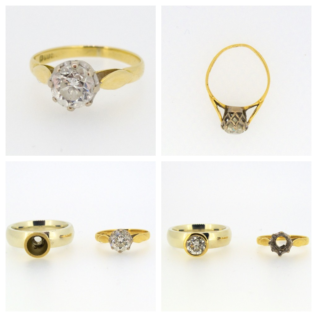 Top two pictures: original diamond ring  Bottom two pictures: diamond in old and new mount