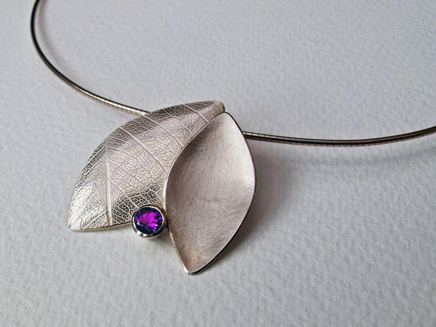 Amethyst leaf duo necklace