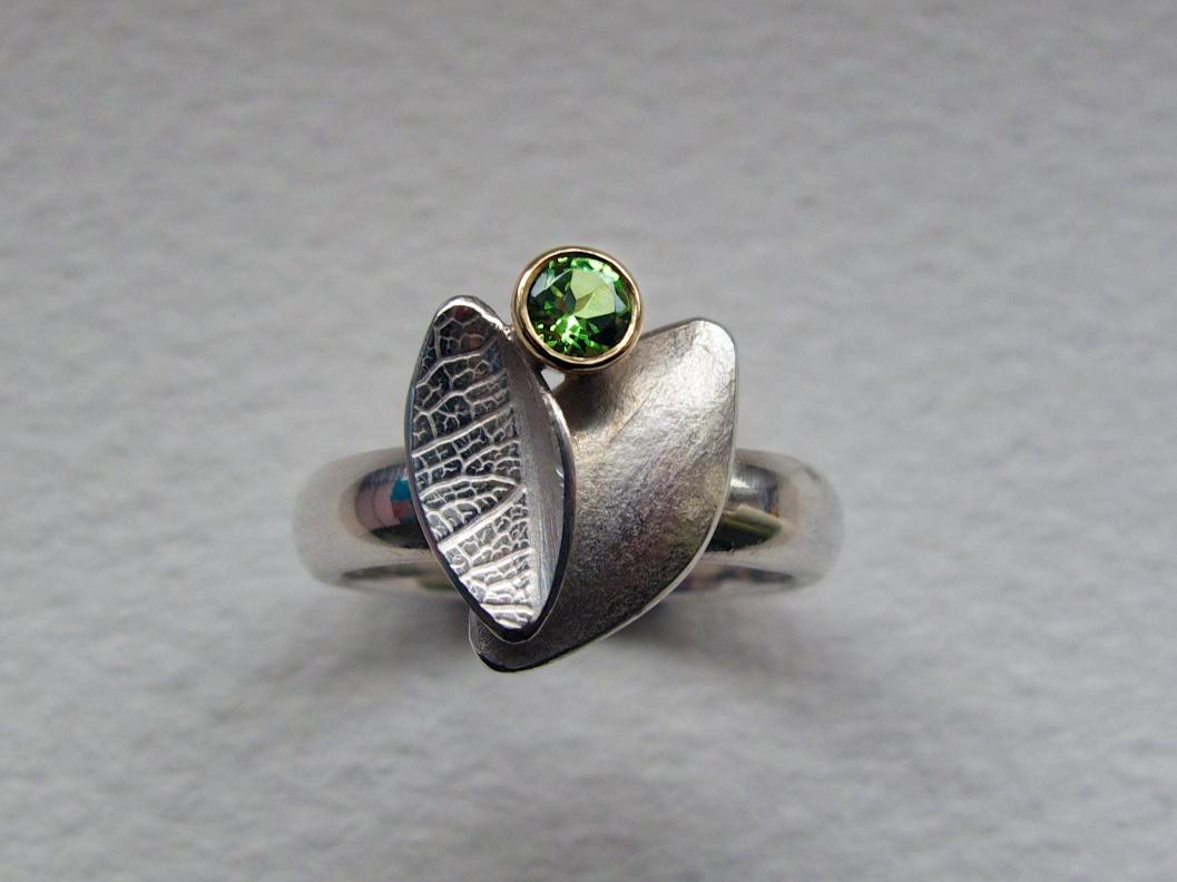 Kate Phipps Gold and silver tsavorite garnet ring.jpg