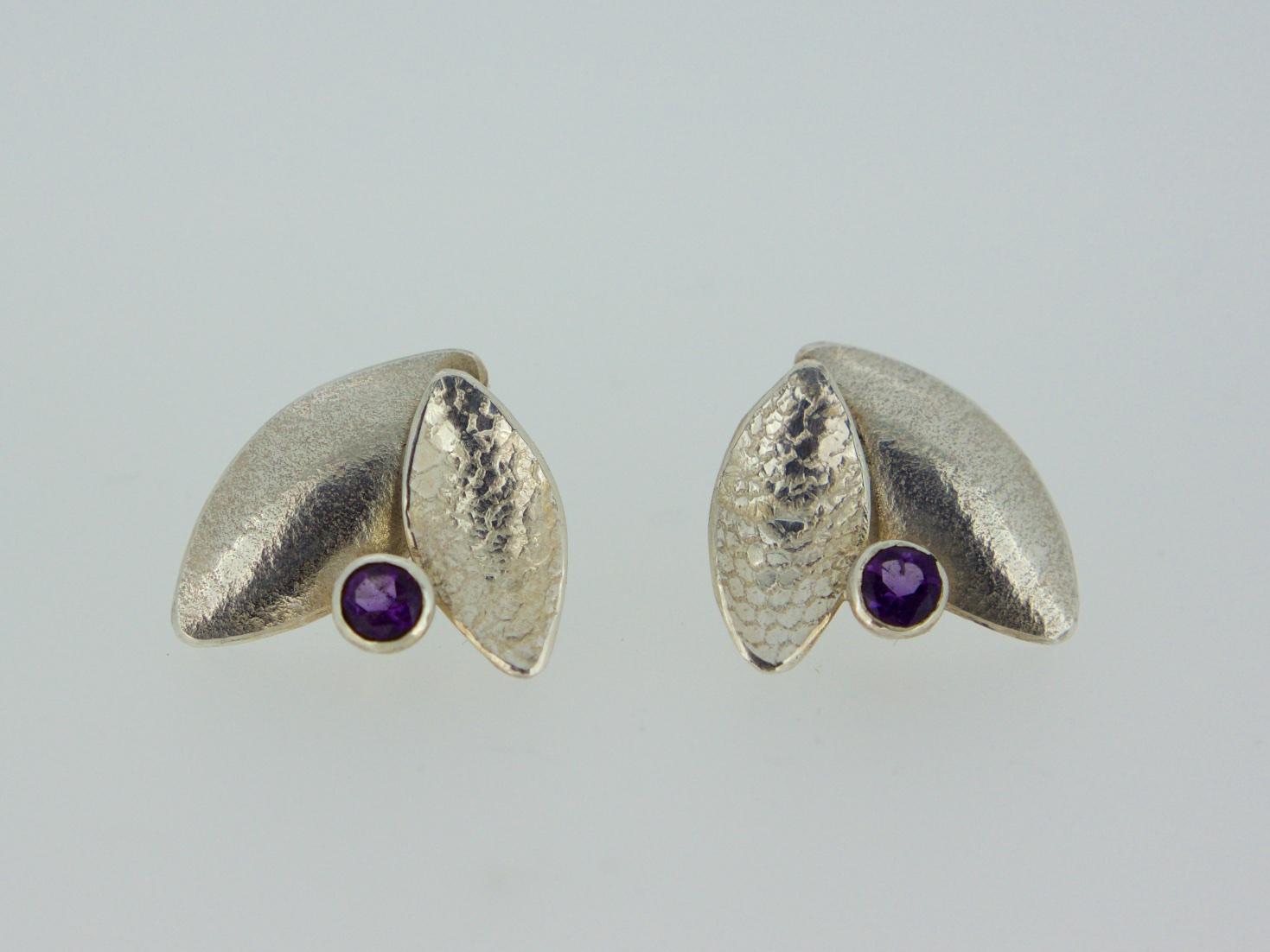 Kate Phipps Leaf duo earrings with Amethyst.jpg