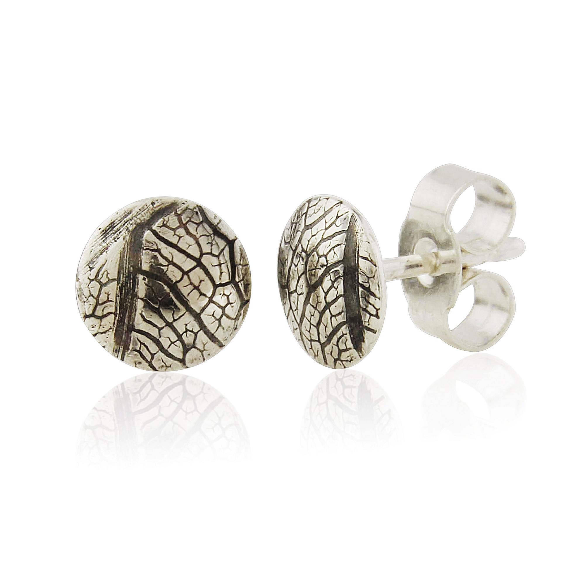Small domed oxidised leaf skeleton earrings