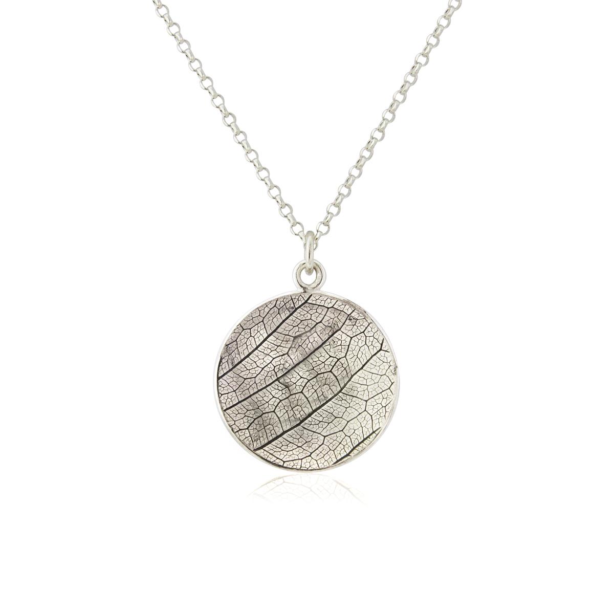 Reversible oxidised leaf skeleton embossed necklace