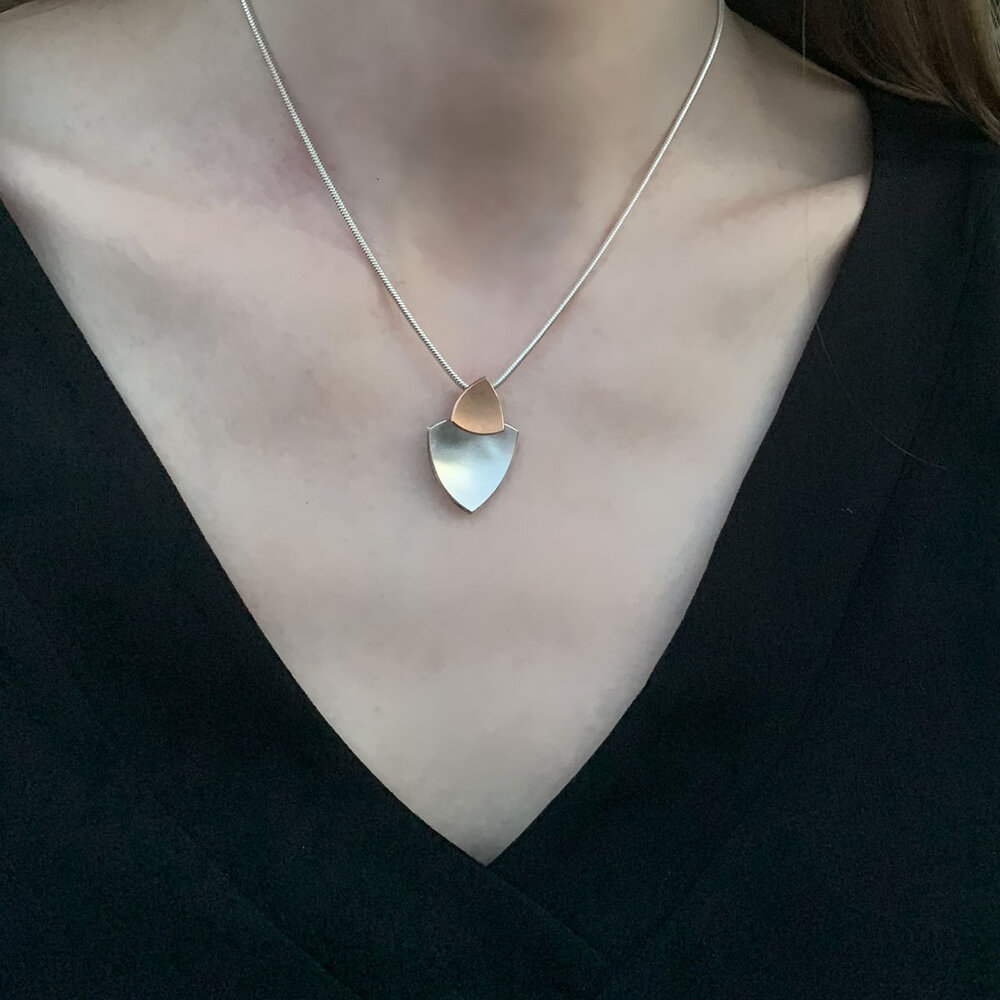 Trillion Duo Necklace Silver And Rose Gold Plated Kate Phipps Jewellery
