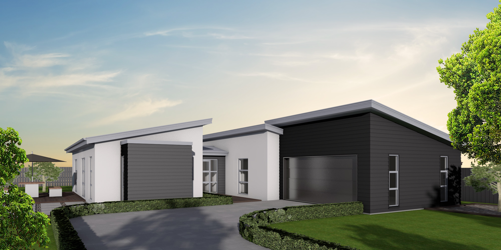 - The Haast's striking monopitch design features separate living and bedroom wings connected by an entranceway which looks through to a central courtyard area. This makes for a light-filled and sun-drenched home which feels truly integrated into its setting.