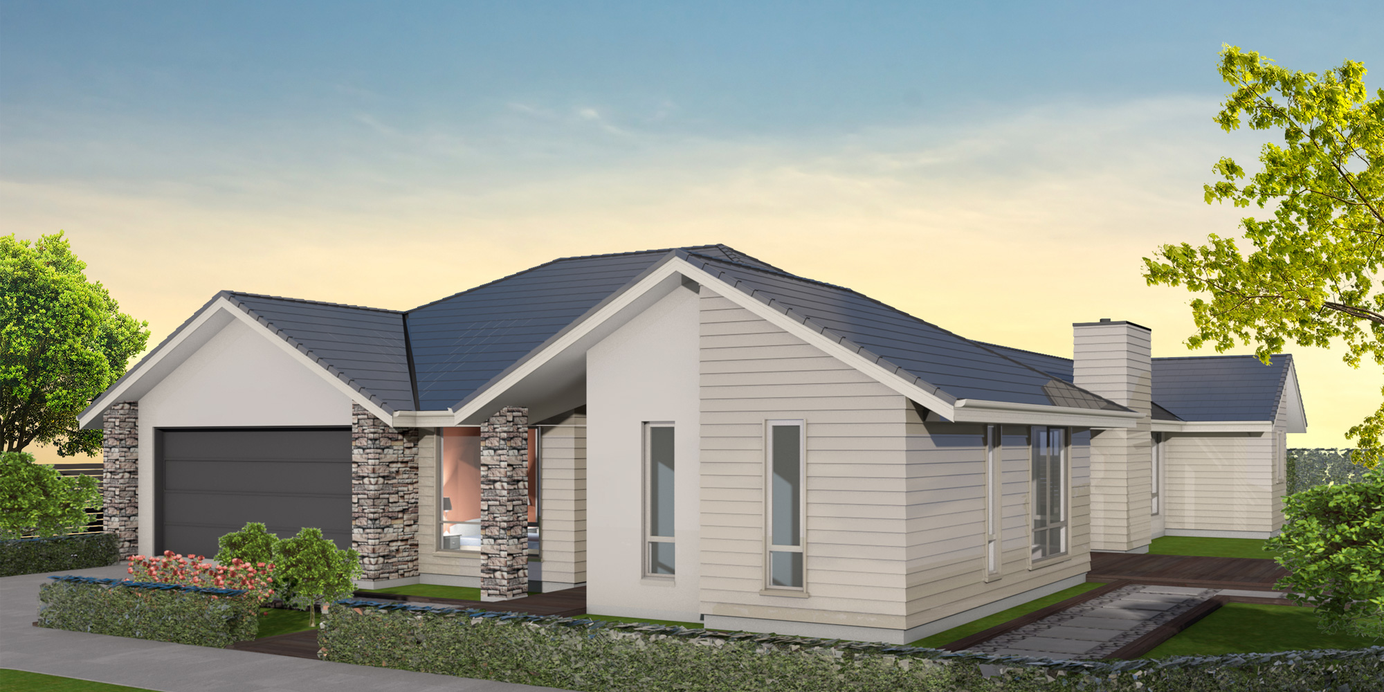 - With four bedrooms and a separate study nook, the spacious and sun-drenched Ohoka makes the ideal family home. Practical features include a three-way bathroom and a separate laundry, while the stylish exterior is enhanced by the addition of schist.