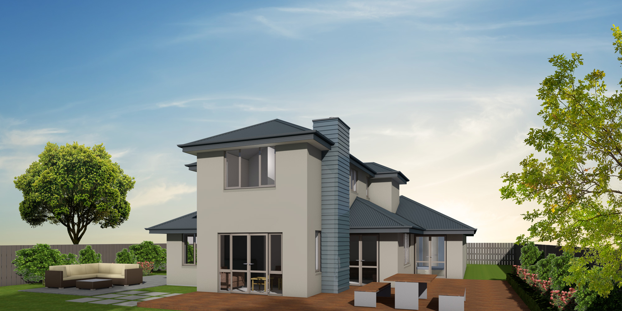 - This two-storey home allows you to make the most of your site. Downstairs houses the living areas, master suite, study and separate toilet and laundry, while the remaining two bedrooms and bathroom with separate toilet are upstairs.