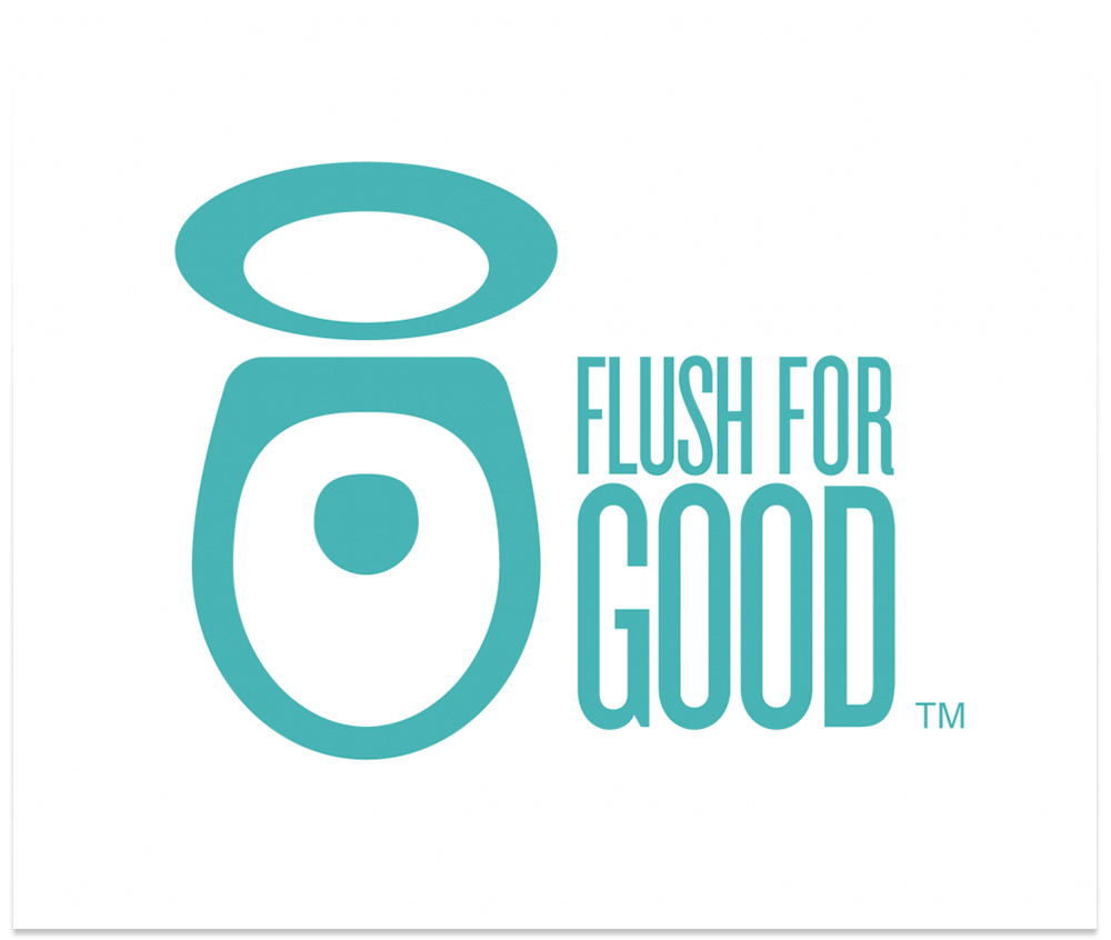 The logo I created for American Standard's Flush for Good campaign that symbolizes the dual power of their Champion® toilet: Its powerful flush, and its philanthropic initiative that donates toilet systems to developing countries.