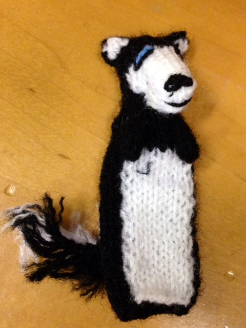 Husky finger puppet hand-knit in  Peru  by the  Ñaña Knitters