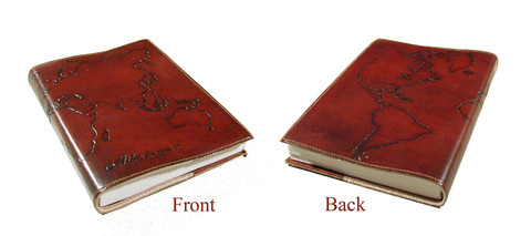 World traveler journal made from cruelty free leather and recycled cotton paper, created in  India  by  Eco Friendly Papers