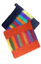 Felted potholders from  Ganesh Himal  in  Nepal