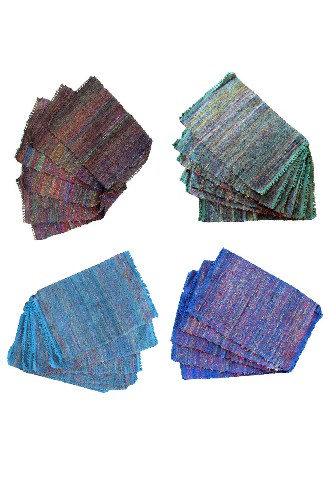Recycled silk placemats made in  Nepal  by  Ganesh Himal Trading Co.