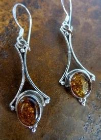 Sterling silver earrings made by  Ganesh Himal  in  Nepal .