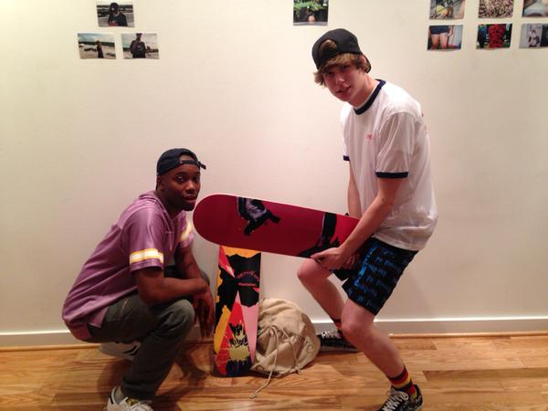 Kasey Jones with Ande from 800 along with a few skateboard decks that he (Ande) designed 2 the Facelift art show for Boz800 and Domingo