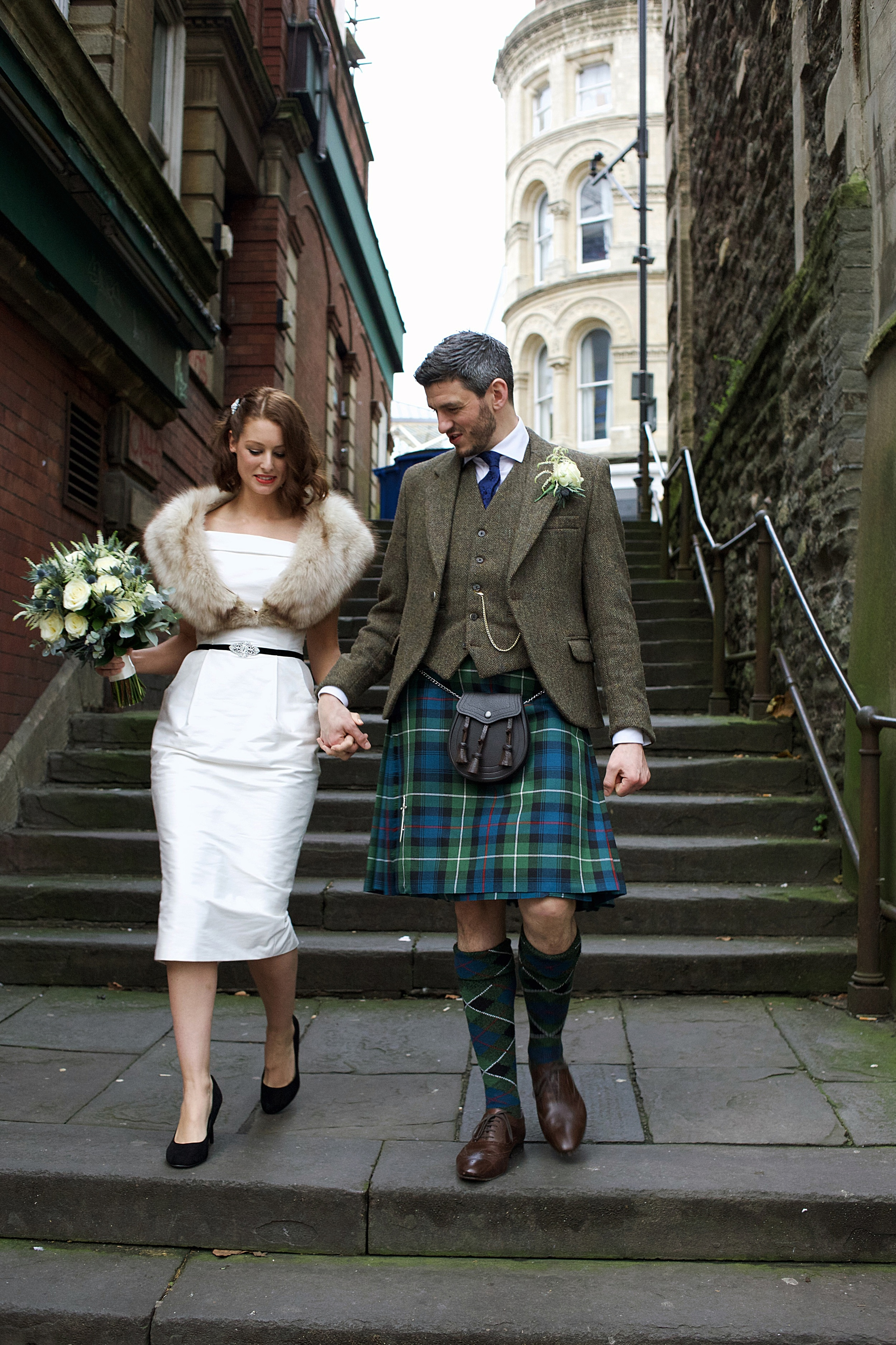 Off the shoulder cotton sateen tailored wedding dress - 2015