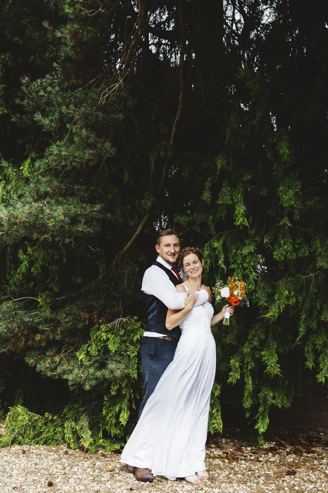 Swiss dot cotton wedding dress with ruching detail - 2016