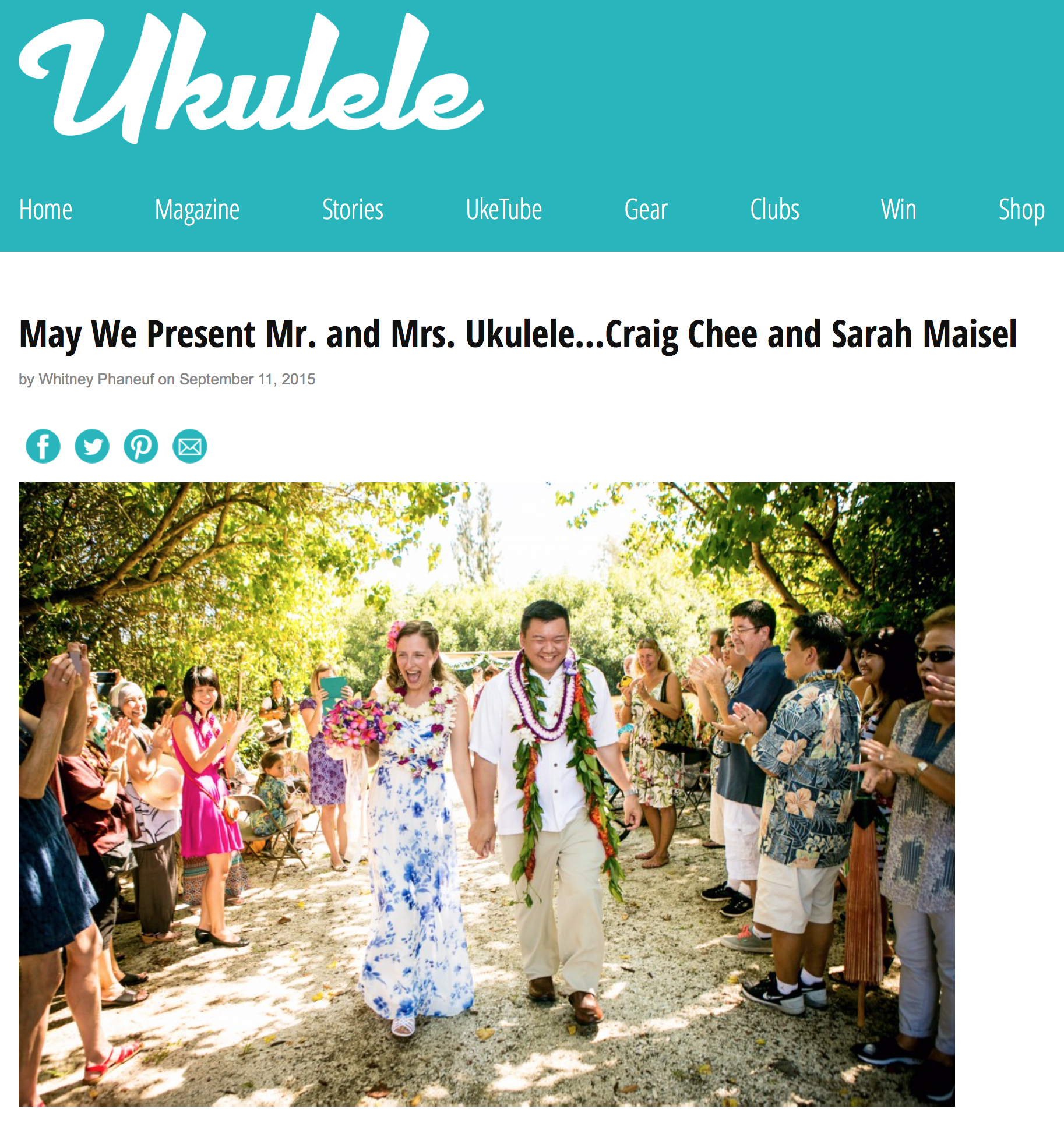 Thank you to  Ukulele Magazine for the wonderful wedding wishes !