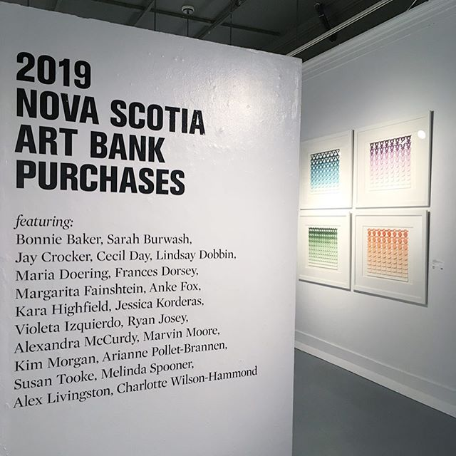 Last night was the opening of the  2019 Nova Scotia Art Bank Purchases exhibition at the @annaleonowensgallery  So much great work! I wish I took more photos! Go check it out, it's on until October 16! ✨  Flag by @ryryjo  Cymbal by @soft.power  Painting by Susan Tooke and so many more for you to see!  @artsnovascotia . . . #halifax #lunenburg #novascotia #madeincanada #ceramics #clay #colours #pottery #craft #handmade #contemporarycraft #contemporaryceramics  #homedecor #handmadeceramics  #postpretty #colour  #potsinaction #piabadasswomen #instapottery #paper #watercolour