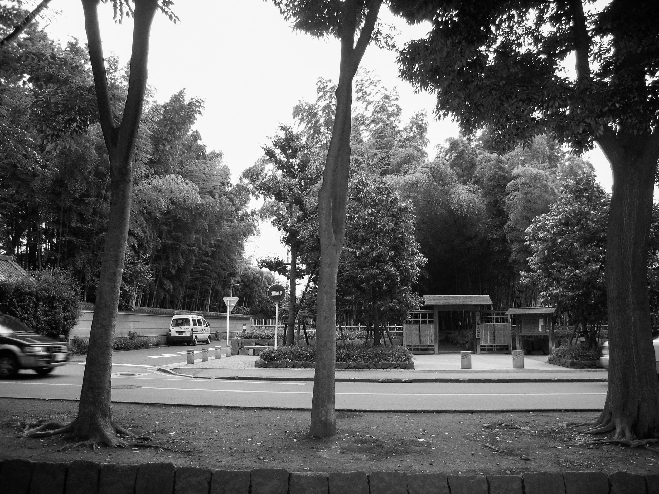 A secluded roadside shrine is hidden amongst a bamboo grove in Saitama prefecture.