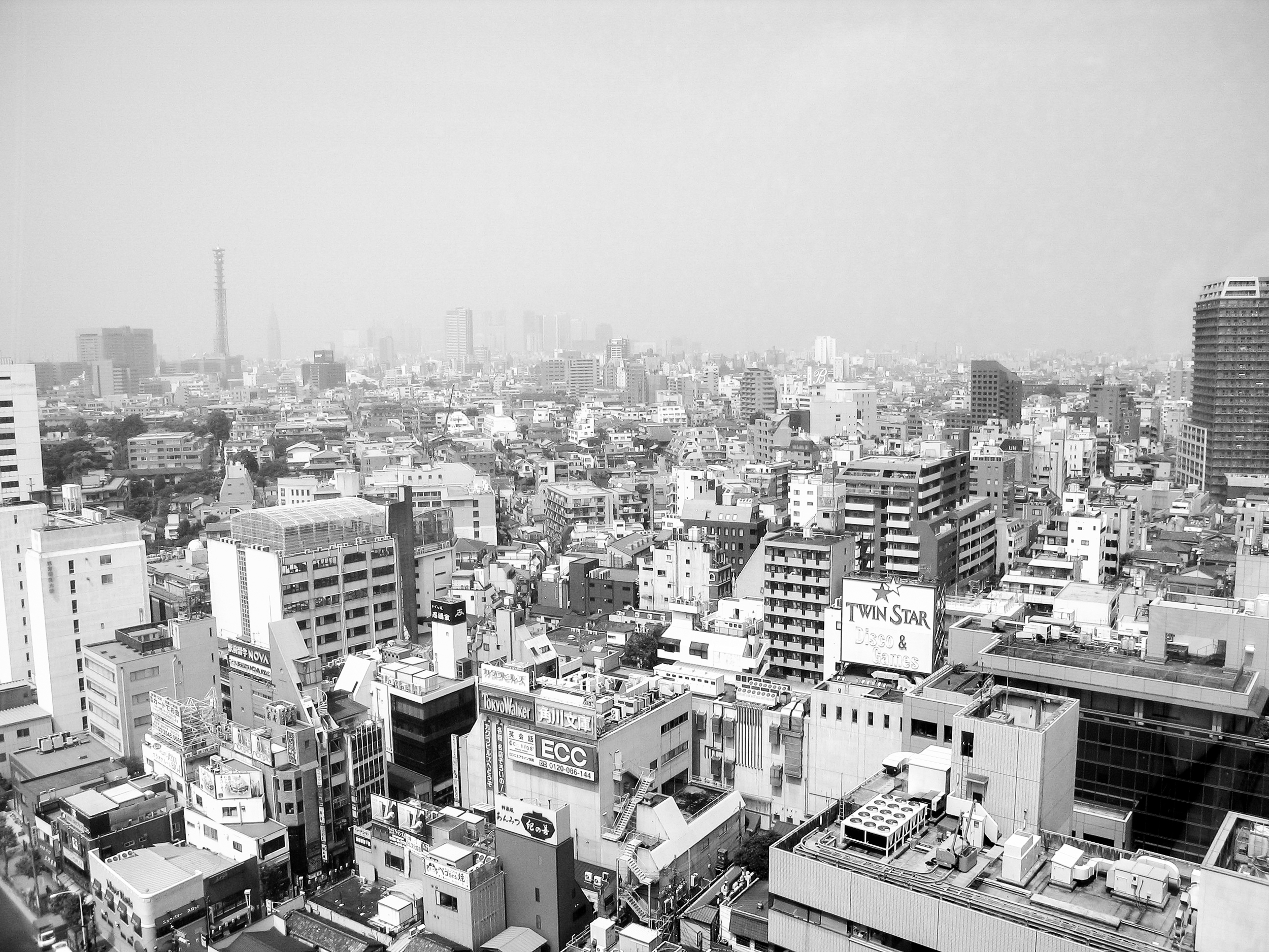 The view of Tokyo's skyline from the Tokyo International Youth Hostel on the 19th floor of a hi-rise in downtown Tokyo.