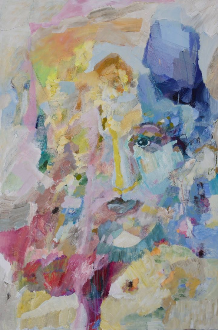 Emergence . Acrylic on canvas, 36 x 24 in. SOLD   A woman's face emerged from abstraction. She entered into sharp focus and then gradually receded back into abstraction until she found this state of balance, half in the realm of the imagination and half in the visible world.