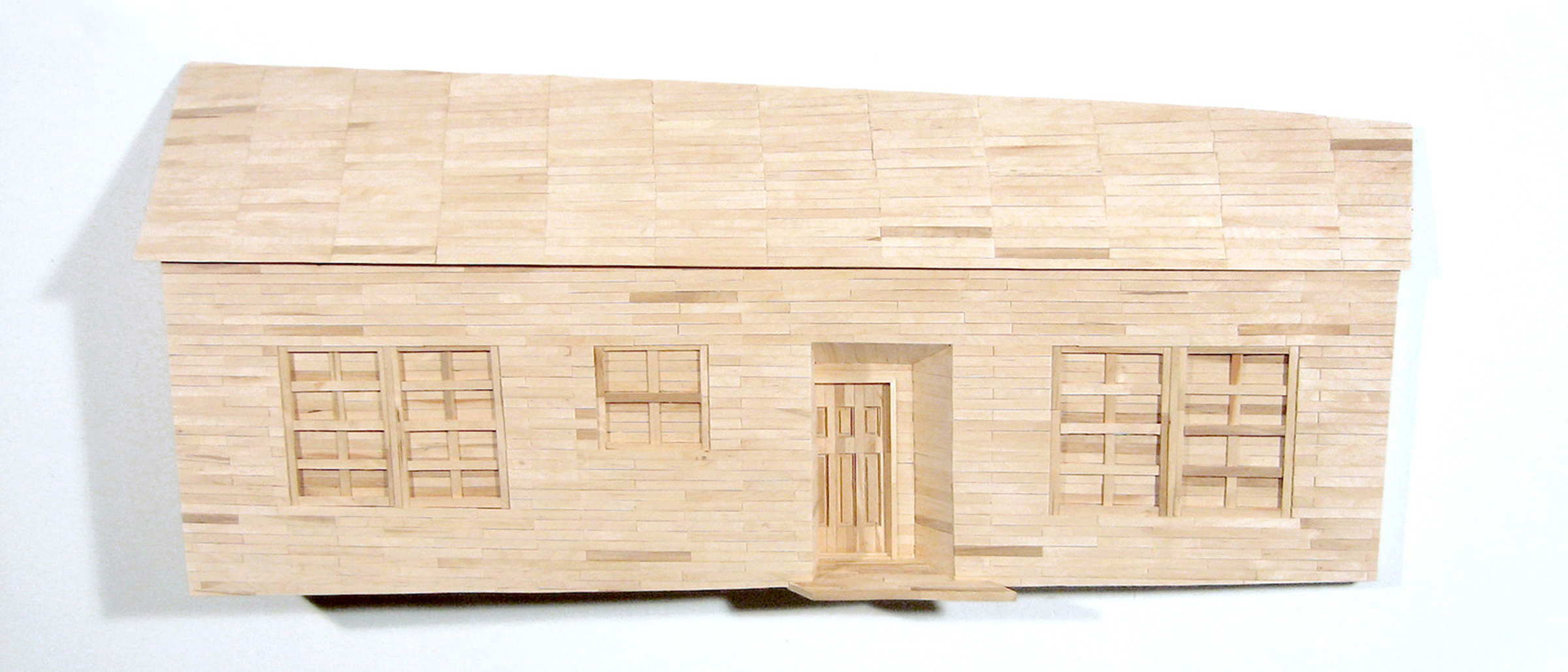 """$2100 - My House (my parents never let us have a dog because we didn't have a fence). Popsicle sticks. 48"""" x 21"""" x 8""""was $3700"""