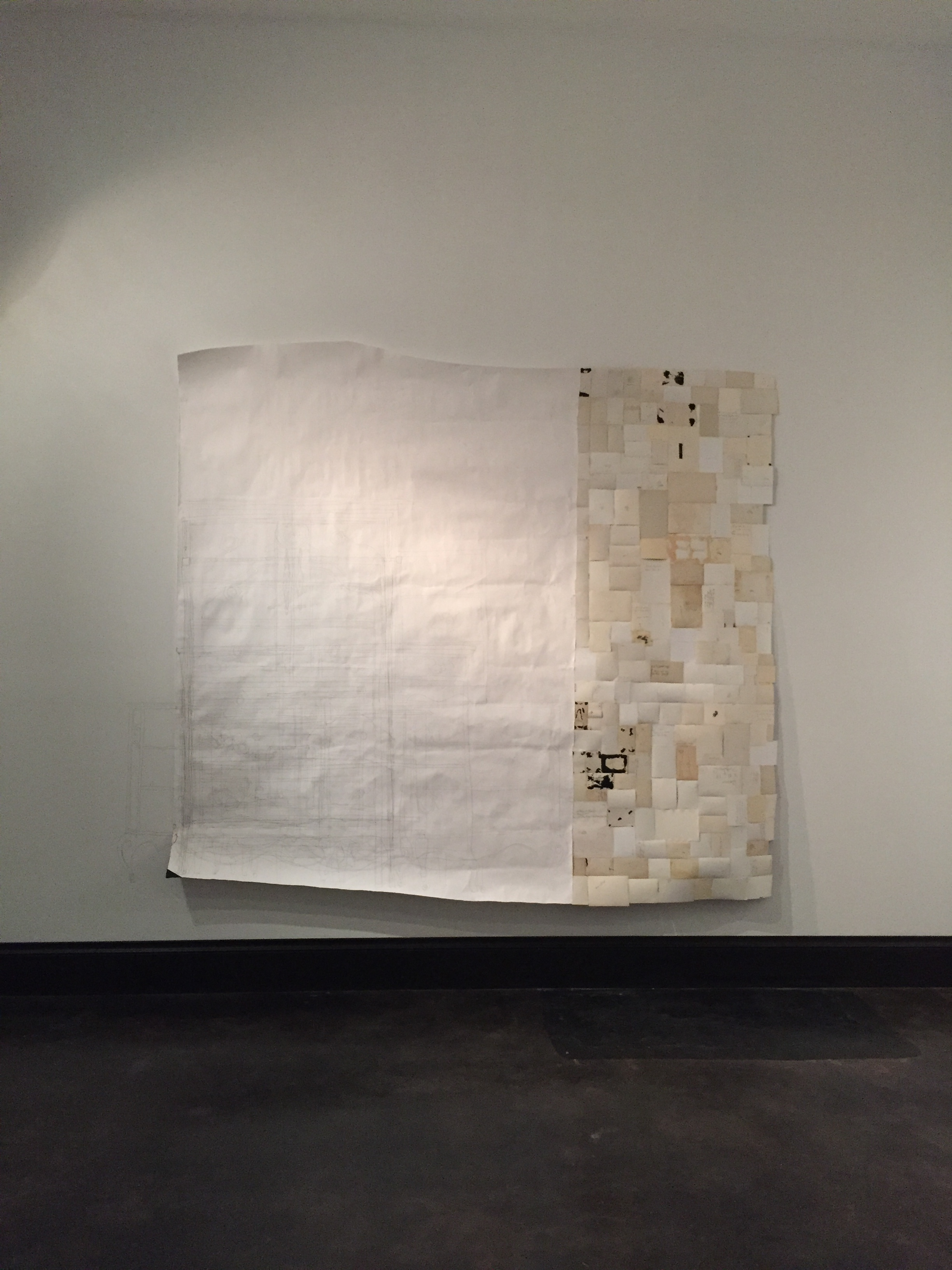 """$1700 - Drawing Gravity. Backs of old photographs, plan drawing of all the dressers from a single point in space. Approx. 80"""" x 90""""was $4000"""