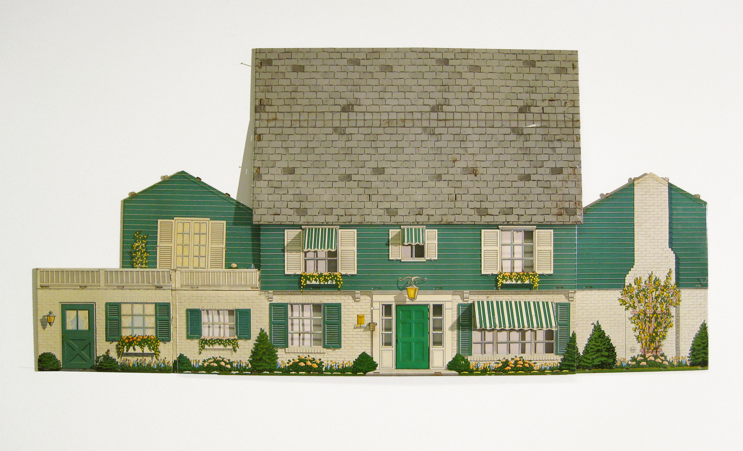 """$750 - The house I never lived in, only sometimes. Tin dollhouse, doorbell. 56"""" x 27""""was $1,000"""