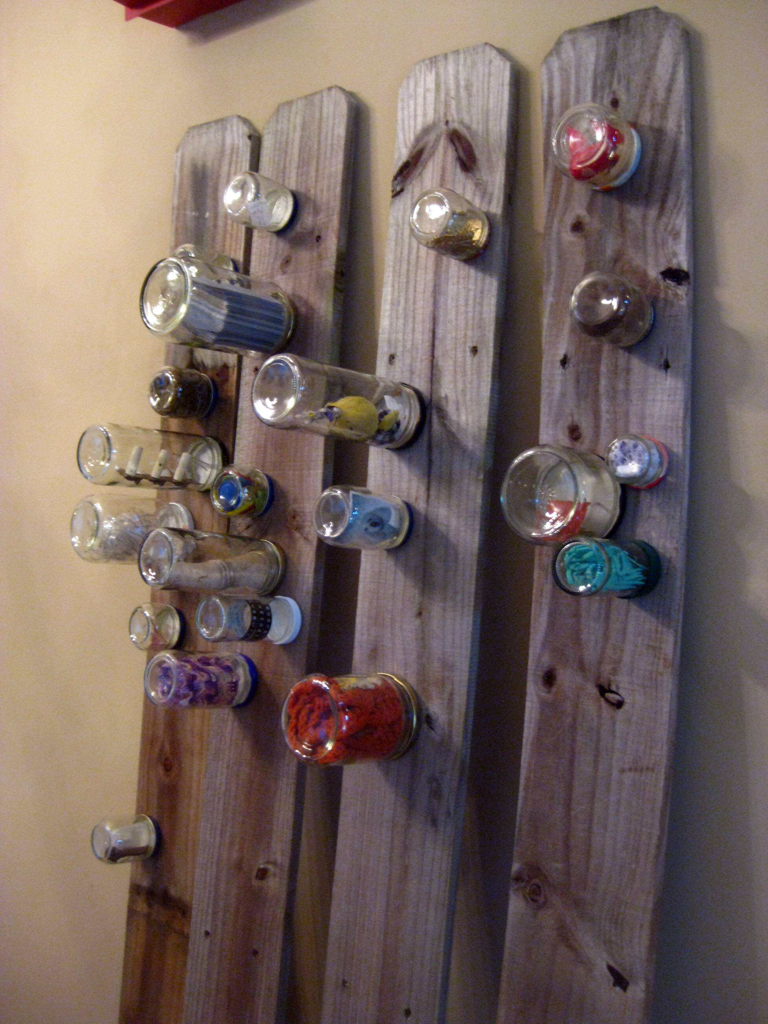SOLD! - Found, Kept. Kept objects, found wood, jars. 6' x 6