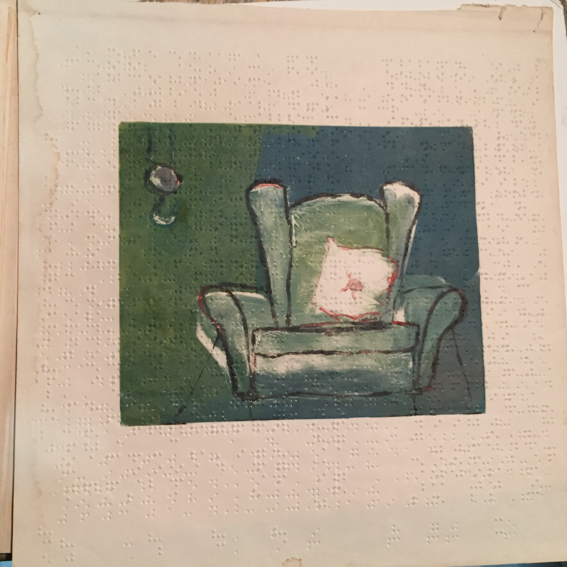$100 - Everyday things outfitted proper just as I remember (chair). Monoprint on Braille paper. 12