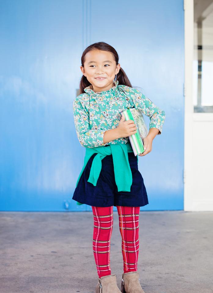 On Kaori:  shirt Leoca ,  sweater around waist Leoca ,  shorts Ketiketa ,  tights Junior Gaultier
