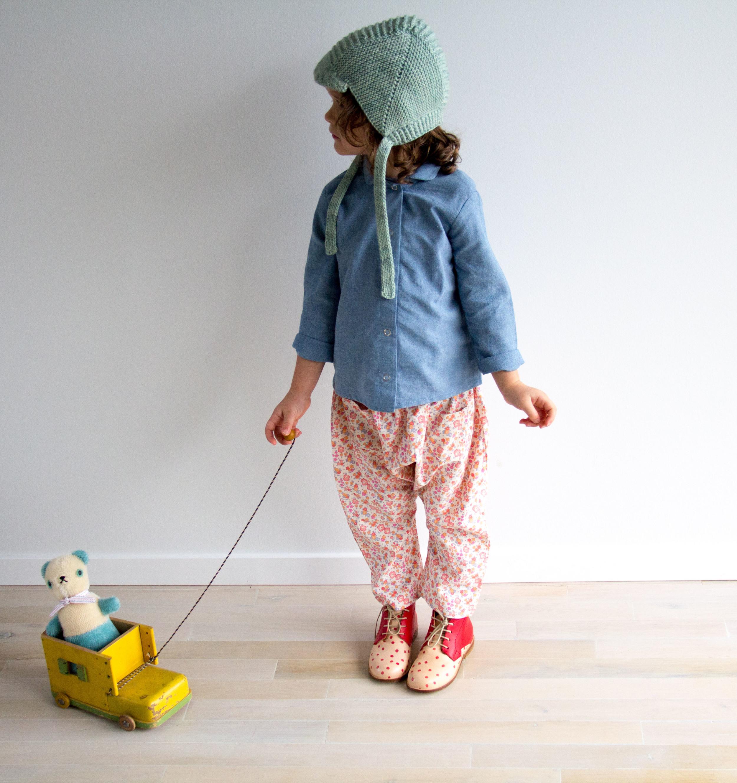 "Nathalie Verlinden 'Mingus"" Booties  |  Soor Ploom Harem Pants  |  Misha and Puff Visor Bonnet  | Red Creek Handmade chambray work shirt (available mid-November) |  Polka Dot Club Bear"