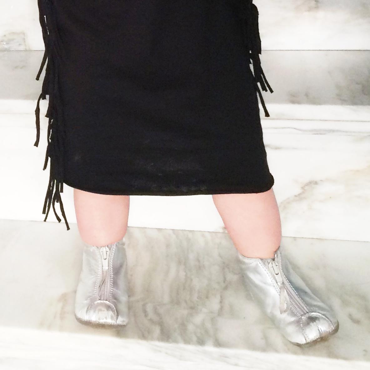 Black Dress Petitbo (  www.petitbo.se  ) | Silver Booties Bisgaard (  www.fourmonkeys.com  )