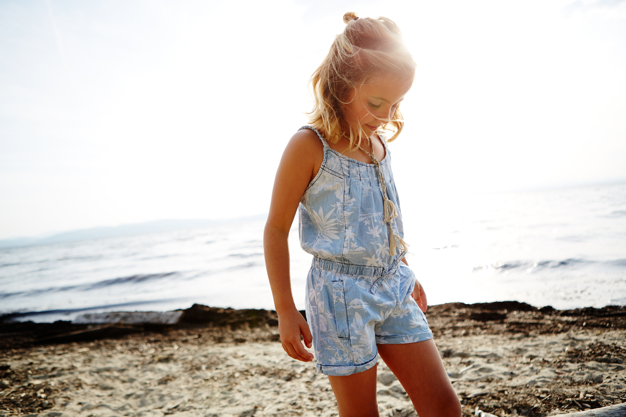 Chambray Palm Romper by    Appaman