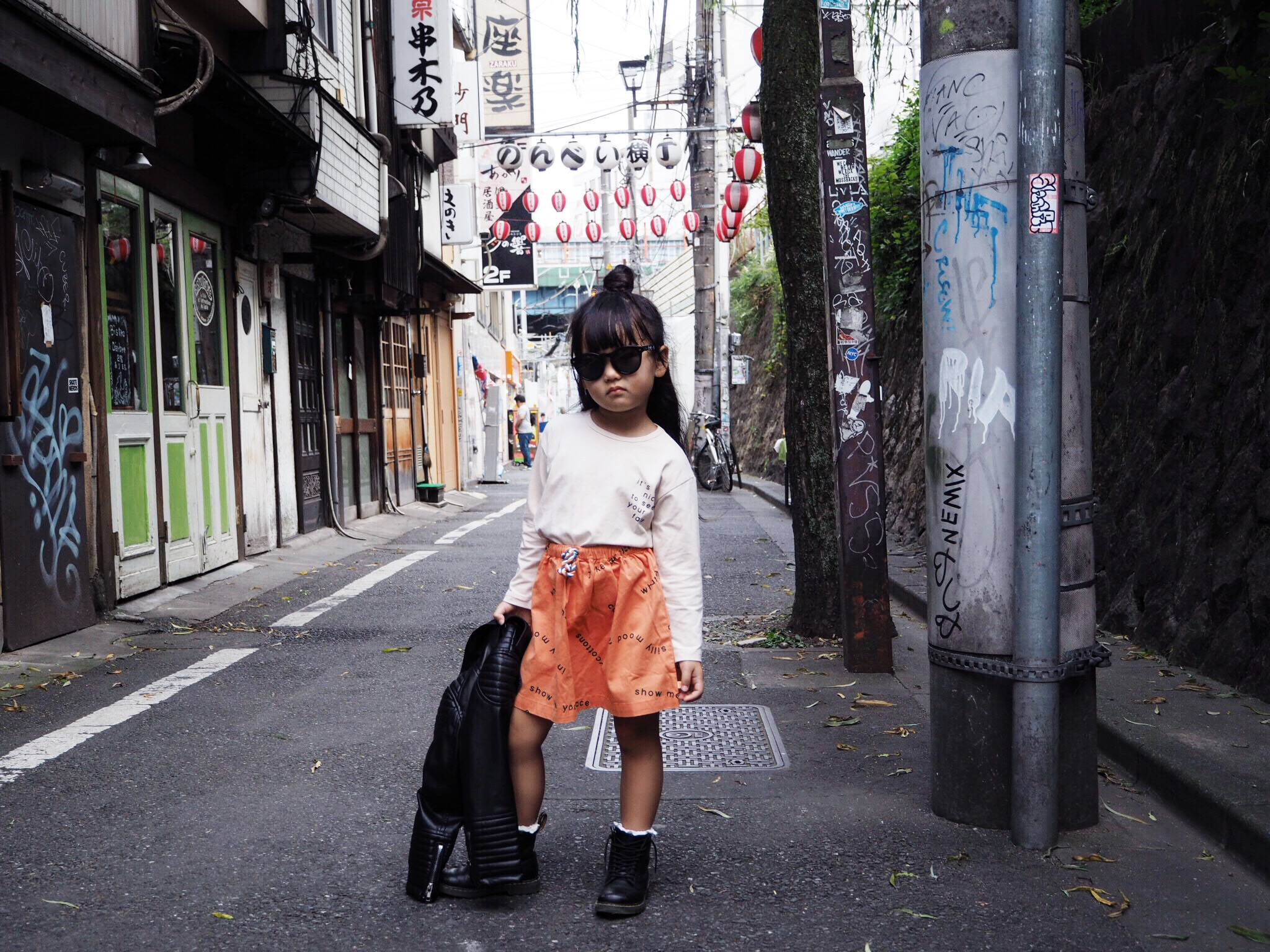 In the deep Alley's of Shibuya: Top + Skirt:  Tiny Cottons , Sunnies:  WinkNiks , Jacket:  Eve Jnr , Boots: Dr. Martens