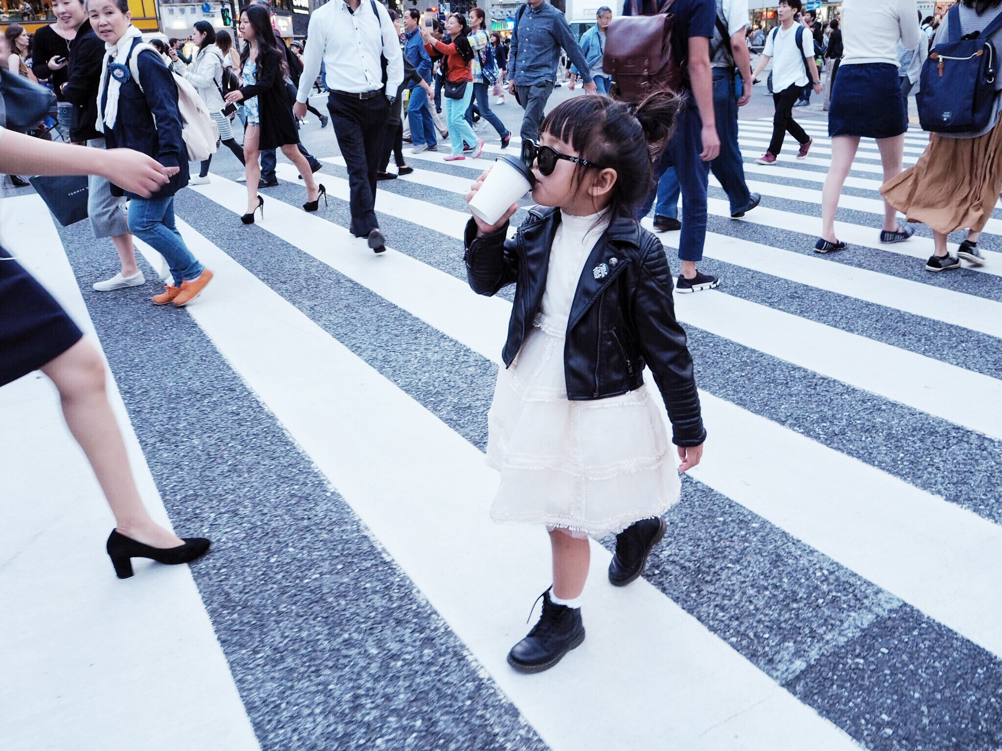 SHIBUYA CROSSING: Dress: H&M Studio Collection, Jacket:  Eve JNR , Boots: Dr. Martens