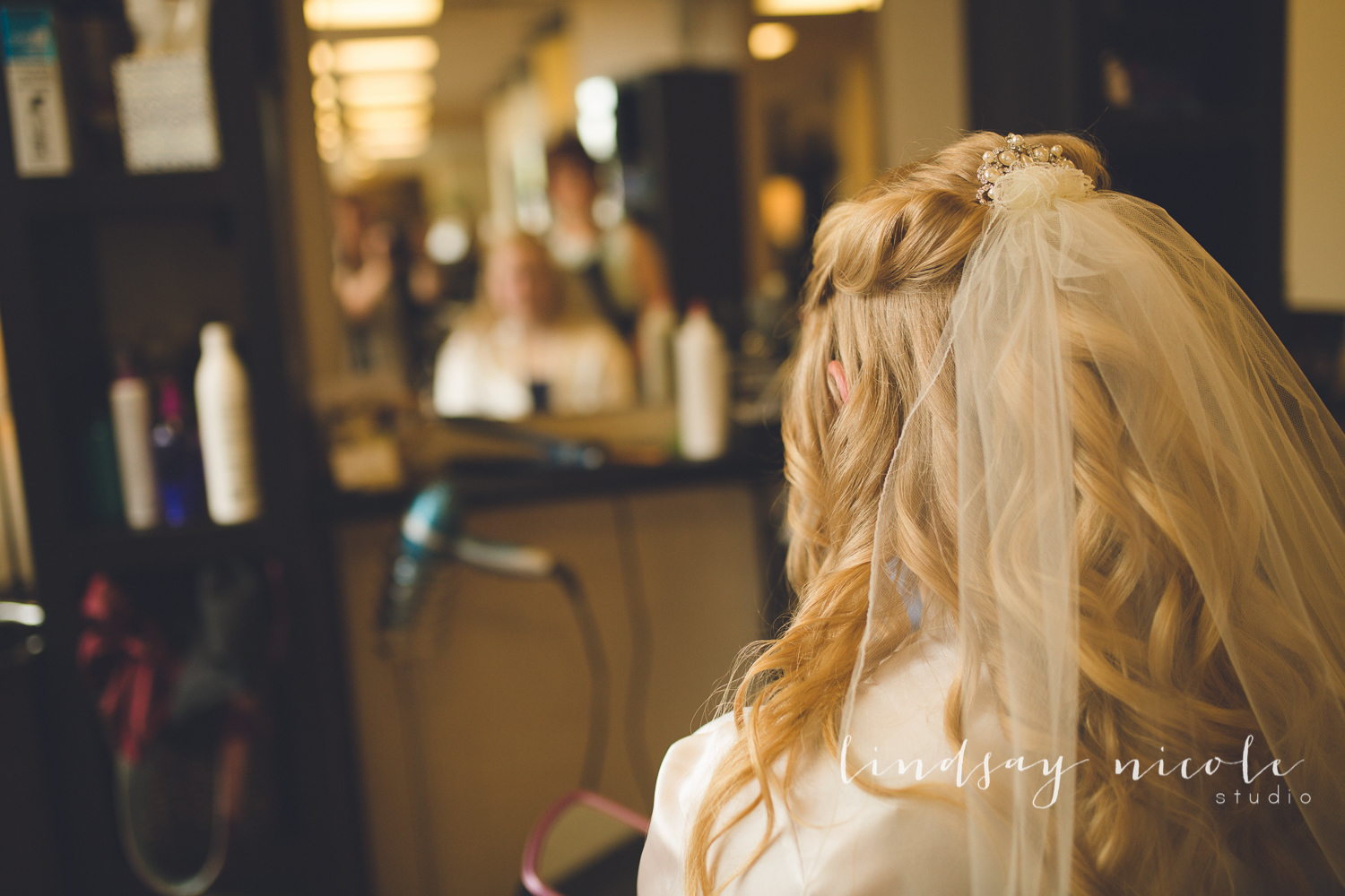 Bethanny sees herself with her veil for the first time at Hair! in Sylvania, Ohio.